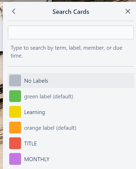 Filter boards in the board menu