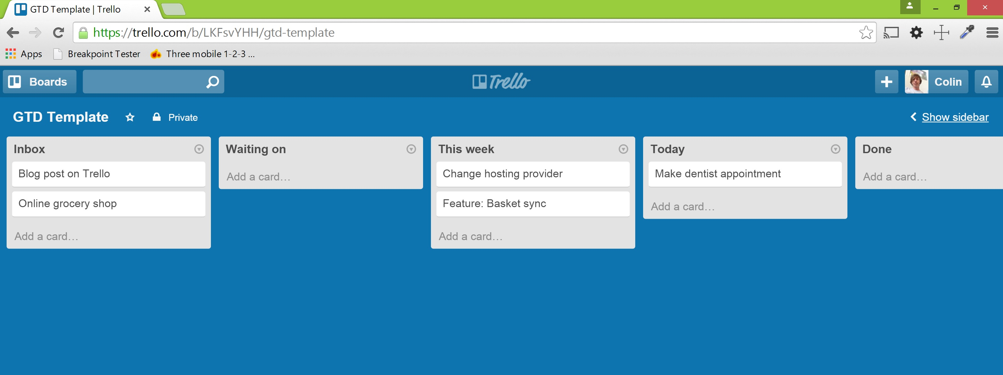 Trello board with a GTD workflow