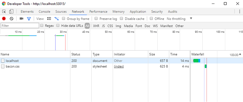 Developer tools network tab showing the static resource has downloaded