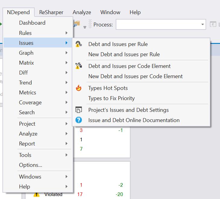 The NDepend toolbar menu